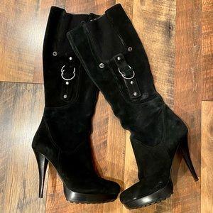 GUESS GWHearne Black Suede Platform Heeled Boots
